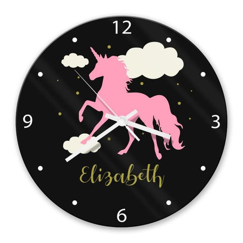 Pink Unicorn Glass Clock