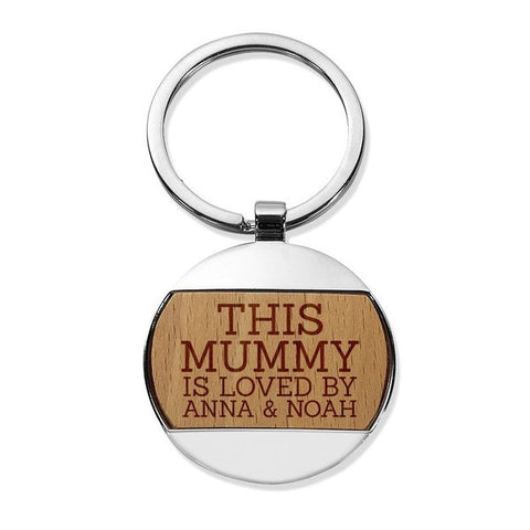 This Mummy Round Metal Keyring