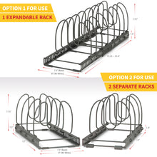 "Load image into Gallery viewer, 2 Racks With 12 Dividers - BTH Silicone Protective Large (8""W) Expandable & Adjustable Kitchen Cabinet Pantry and Bakeware Organizer Rack Holder: Total 12 Adjustable Compartments, 2 Racks or 1 Expandable Rack (Large, Dark Grey)"