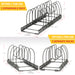 BTH 12+ Expandable Pan, Pot and Bakeware Organizer Rack: Total 12 Adjustable Compartments, 2 Racks or 1 Expandable Rack, Kitchen Cabinet Countertop Baking sheet Holder (LARGE 12+ RACK)