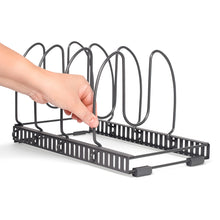 "Load image into Gallery viewer, 2 Racks With 8 Dividers - BTH Silicone Protective Large (8""W) Expandable & Adjustable Kitchen Cabinet Pantry and Bakeware Organizer Rack Holder: Total 8 Adjustable Compartments, 2 Racks or 1 Expandable Rack (Large, Dark Grey)"