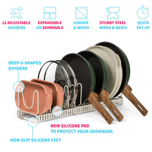 "Load image into Gallery viewer, 2 Small Racks With 12 Dividers (6""W) SMALL Lid & Pan Holder (White Sand)"