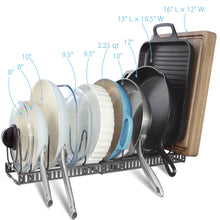 "Load image into Gallery viewer, 2 Small Racks With 12 Dividers (6""W) SMALL Lid & Pan Holder (Dark Grey)"