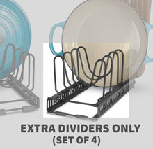 "Load image into Gallery viewer, 2 Lid Holders With 12 Dividers - BTH Silicone Protective Small (6""W) Lid & Pan Holder: 2 Holders or 1 Expandable Holder, Total 12 Adjustable Compartments, Kitchen Cabinet Pantry and Bakeware Organizer Rack (Small, Dark Grey)"