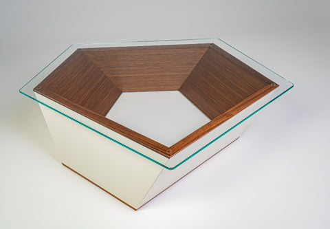 Angular Coffee Table (Exhibition 2020) mix media, glass and veneer H300mm L1090mm W930mm Photographer Alex Sturman