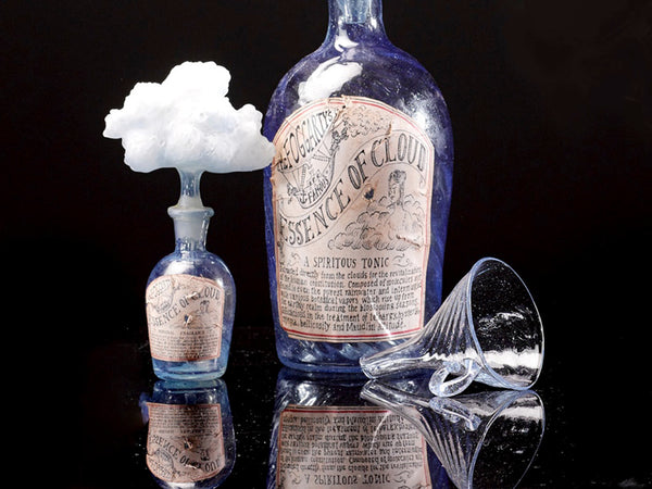 Mark Eliot, Cloud Essence bottles: large tonic and small fragrance with funnel (detail), circa 1870, 2018, flameworked glass . Photo: Courtesty of the artist