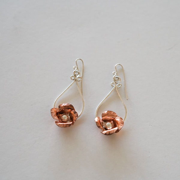 Copper and Silver Rose earrings