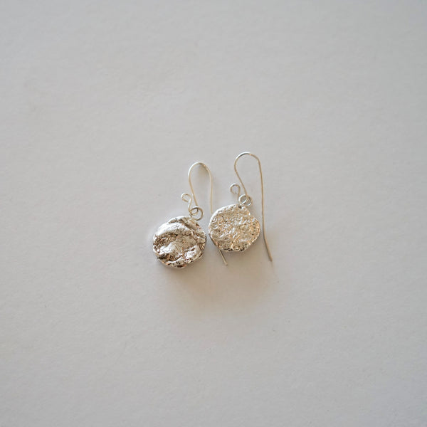 Round Melted Silver earrings