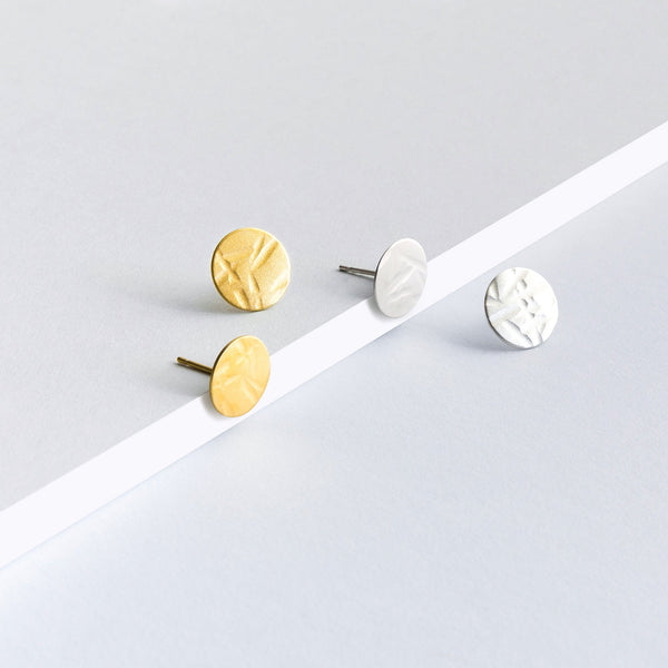 Textured Stud Large ( gold plated sterling silver )