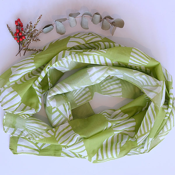 Green Hand Printed Scarf