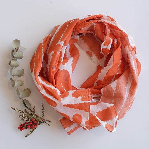 Orange Hand Printed Scarf