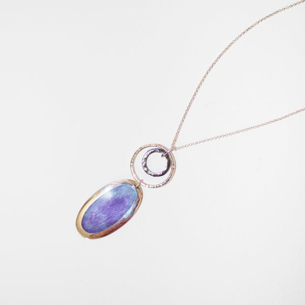 Matte stormy sky pendant with loop detail