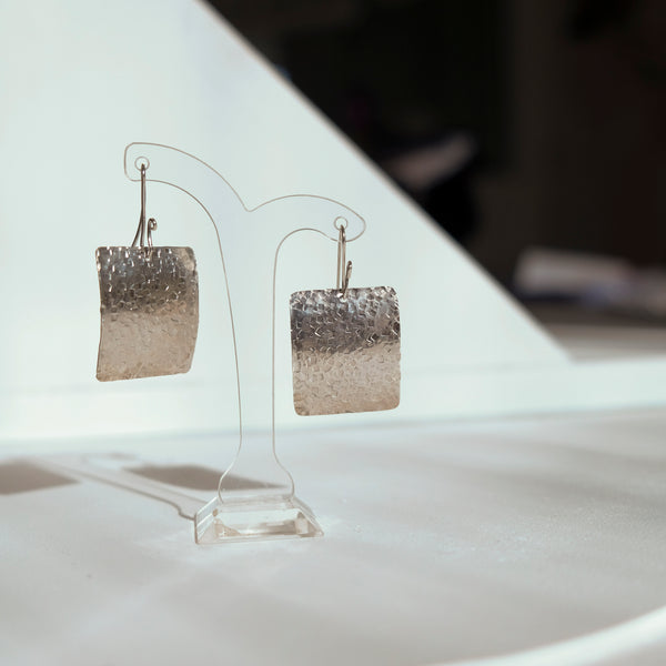 Square silver earrings
