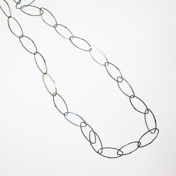 Pointed oval chain necklace, oxidised