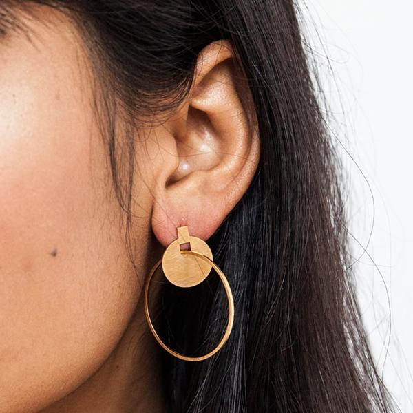 Around We Go Hoop Stud ( gold plated sterling silver )