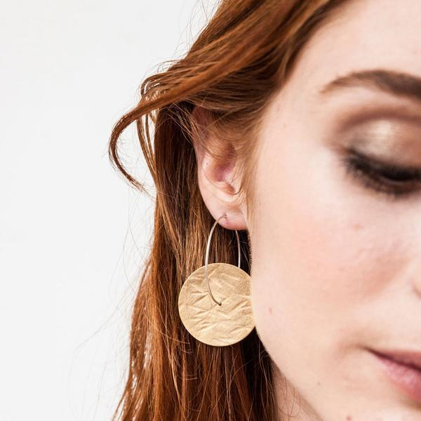 Textured Hoop Earrings - Gold Plated