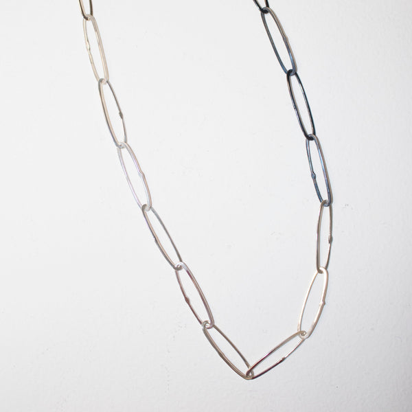 Two-tone paperclip chain necklace