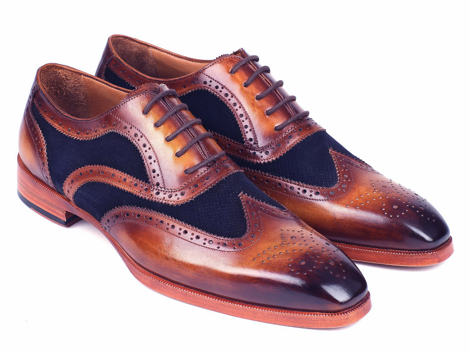 d317803cffc Paul Parkman Brown Leather   Navy Suede Oxfords - TieThis Neckwear and  Accessories and TieThis.