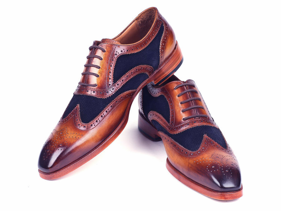 Paul Parkman Brown Leather & Navy Suede Oxfords - TieThis Neckwear and Accessories and TieThis.com