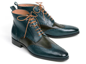 Paul Parkman Dual Tone Green & Blue Wingtip Ankle Boots