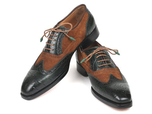 Paul Parkman Brown & Green Goodyear Welted Wingtip Oxfords