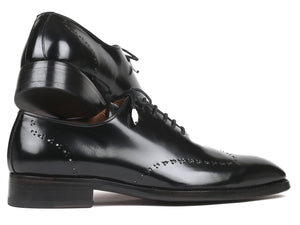 Paul Parkman Goodyear Welted Black Polished Leather Wingtip Oxfords