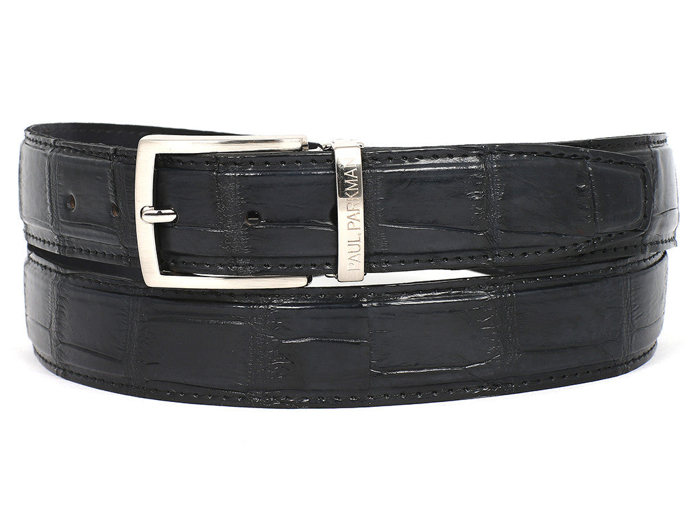 Paul Parkman Black Crocodile Skin Belt - TieThis Neckwear and Accessories and TieThis.com