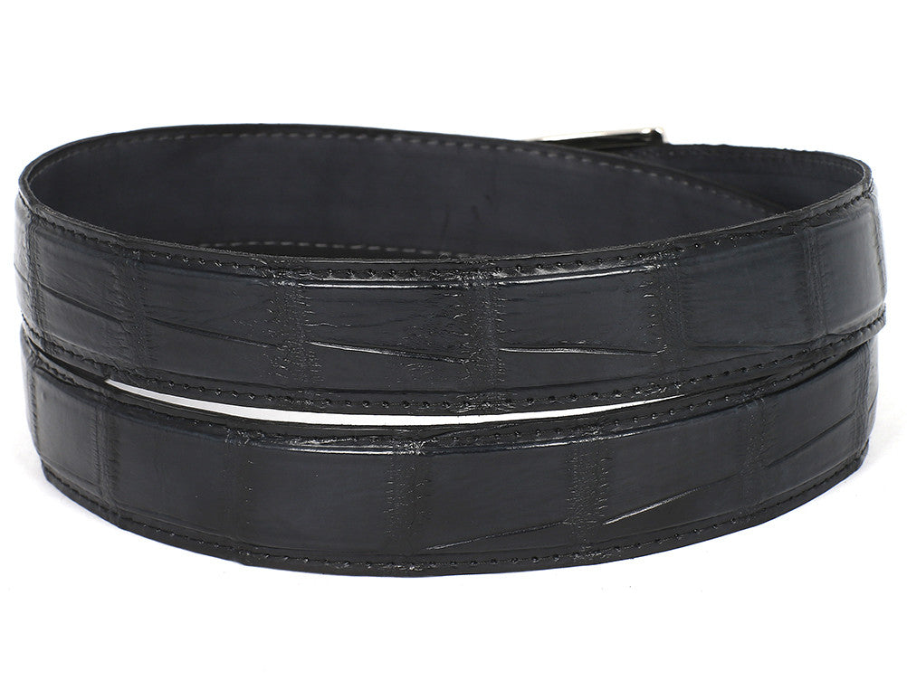 Belt - PAUL PARKMAN Men's Black Genuine Crocodile Belt (ID#B05-BLK)