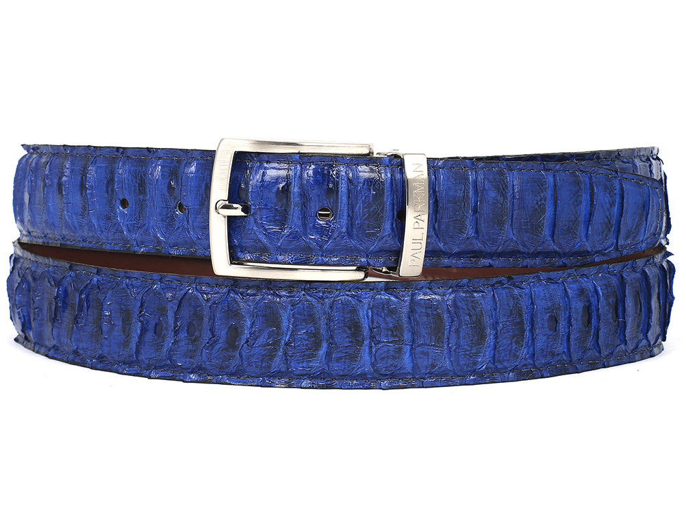 Paul Parkman Blue Genuine Python (snakeskin) - TieThis Neckwear and Accessories and TieThis.com