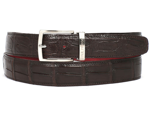 Belt - PAUL PARKMAN Men's Brown Genuine Crocodile Belt (ID#B05-BRW)