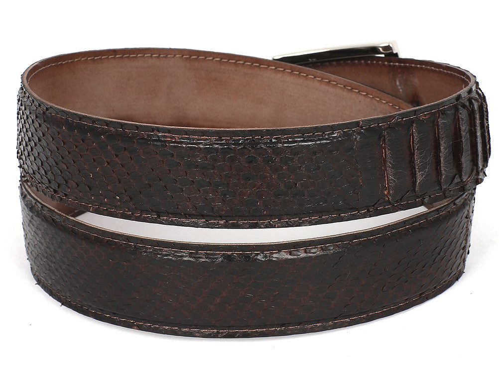 Belt - PAUL PARKMAN Men's Brown Genuine Python (snakeskin) Belt (ID#B03-BRW)