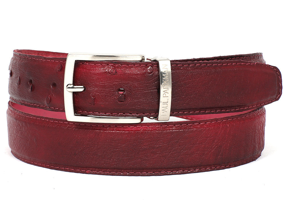 Paul Parkman Burgundy Red Genuine Ostrich - TieThis Neckwear and Accessories and TieThis.com