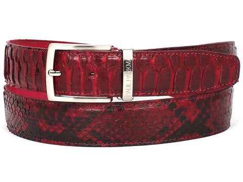 Belt - PAUL PARKMAN Men's Burgundy Genuine Python (snakeskin) Belt (ID#B03-BUR)