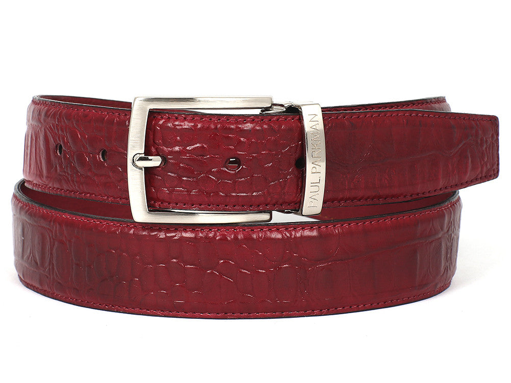 Paul Parkman Croc Embossed Calfskin Burgundy Red - TieThis Neckwear and Accessories and TieThis.com
