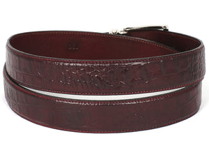 Paul Parkman Croc Embossed Calfskin Dark Bordeaux - TieThis Neckwear and Accessories and TieThis.com