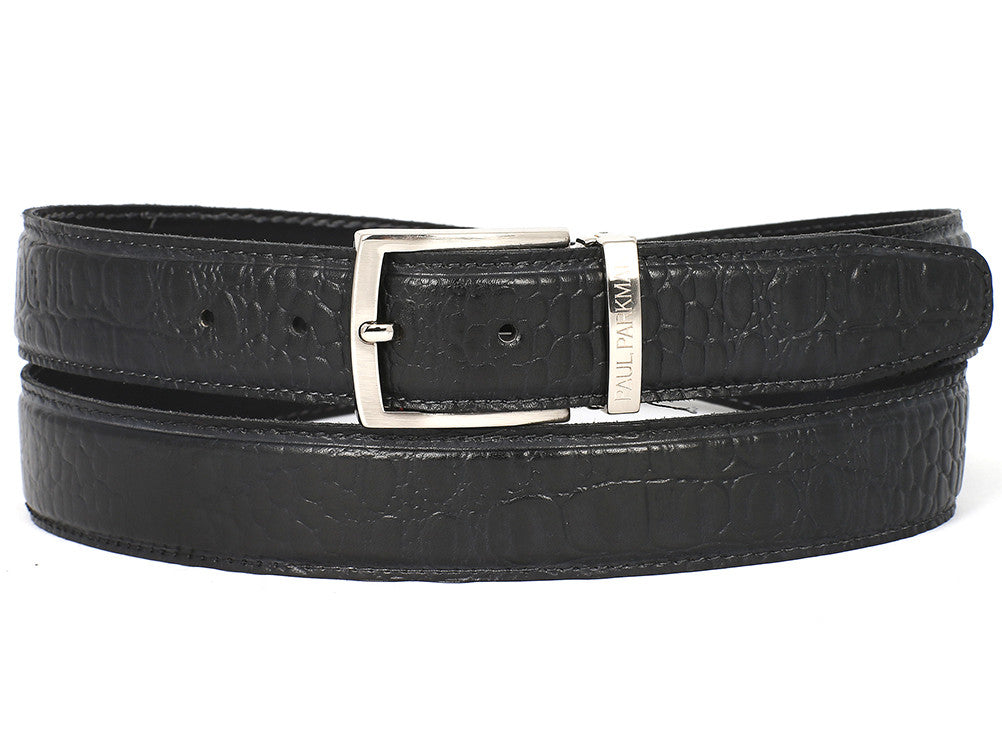 Paul Parkman Crocodile Embossed Calfskin Hand-Painted Black - TieThis Neckwear and Accessories and TieThis.com