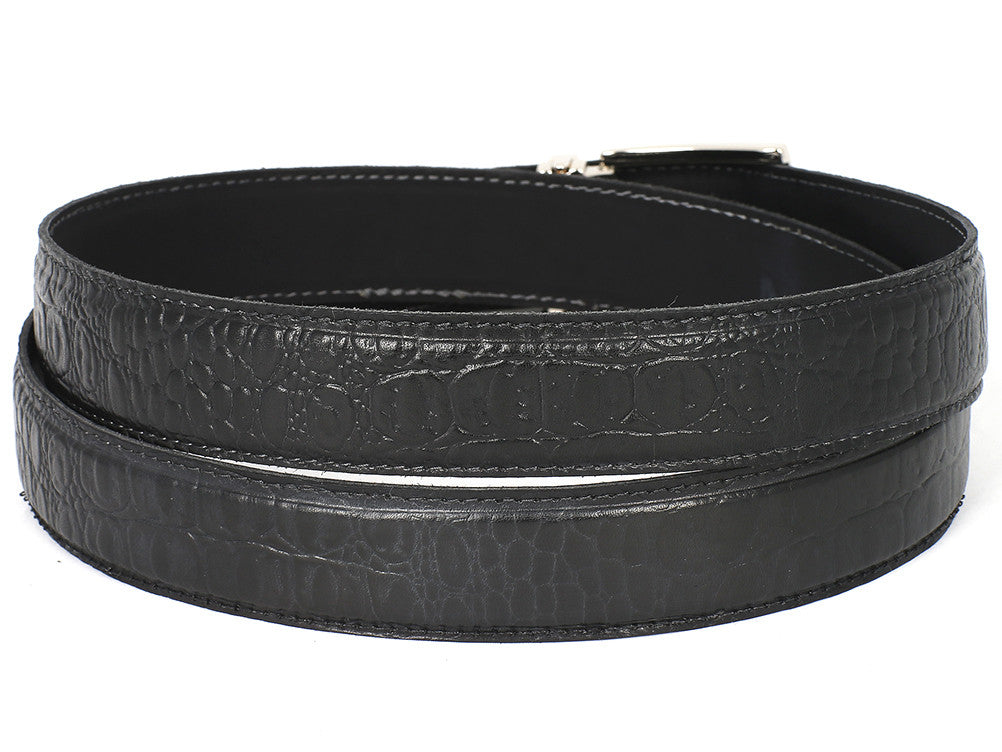 Belt - PAUL PARKMAN Men's Crocodile Embossed Calfskin Leather Belt Hand-Painted Black (ID#B02-BLK)