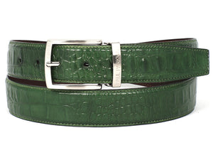 Paul Parkman Crocodile Embossed Calfskin Hand-Painted Green - TieThis Neckwear and Accessories and TieThis.com