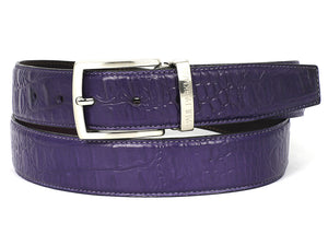 Paul Parkman Crocodile Embossed Calfskin Hand-Painted Purple - TieThis Neckwear and Accessories and TieThis.com