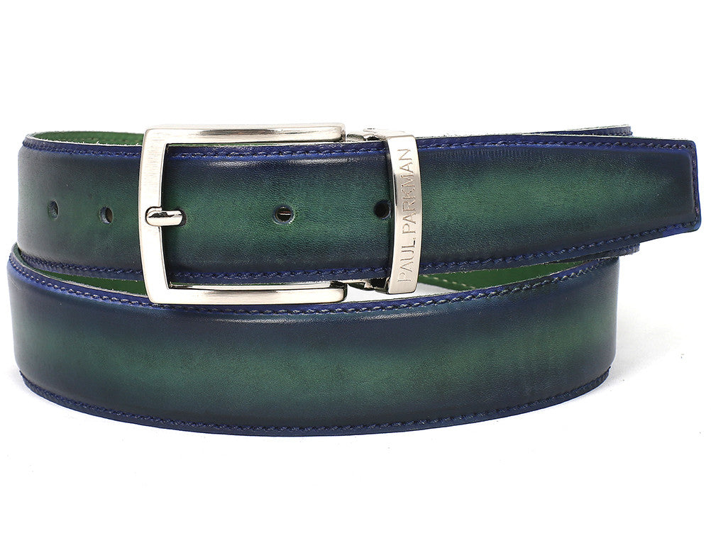 Belt - PAUL PARKMAN Men's Leather Belt Dual Tone Blue & Green (ID#B01-BLU-GRN)