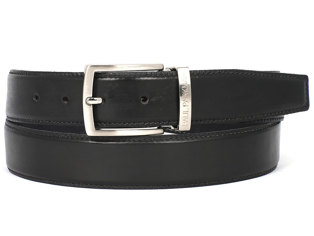 Belt - PAUL PARKMAN Men's Leather Belt Hand-Painted Black (ID#B01-BLK)