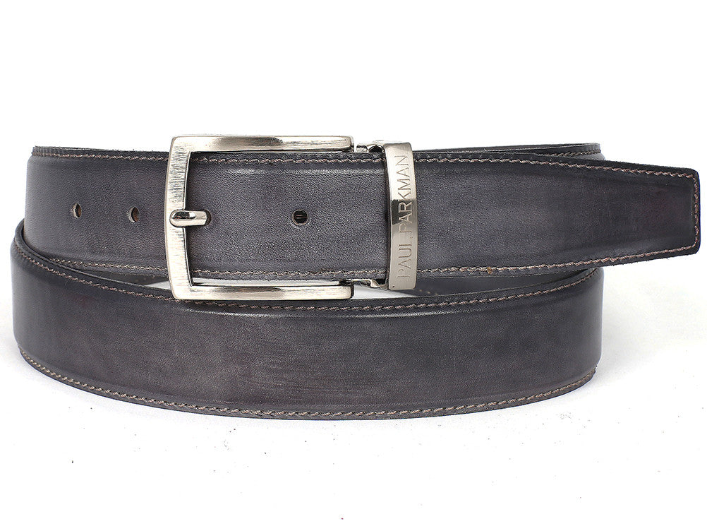 Belt - PAUL PARKMAN Men's Leather Belt Hand-Painted Gray (ID#B01-GRAY)