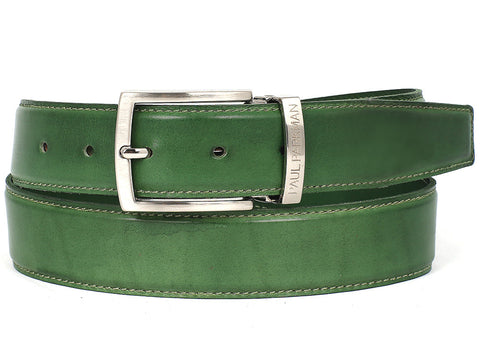 Belt - PAUL PARKMAN Men's Leather Belt Hand-Painted Green (ID#B01-LGRN)