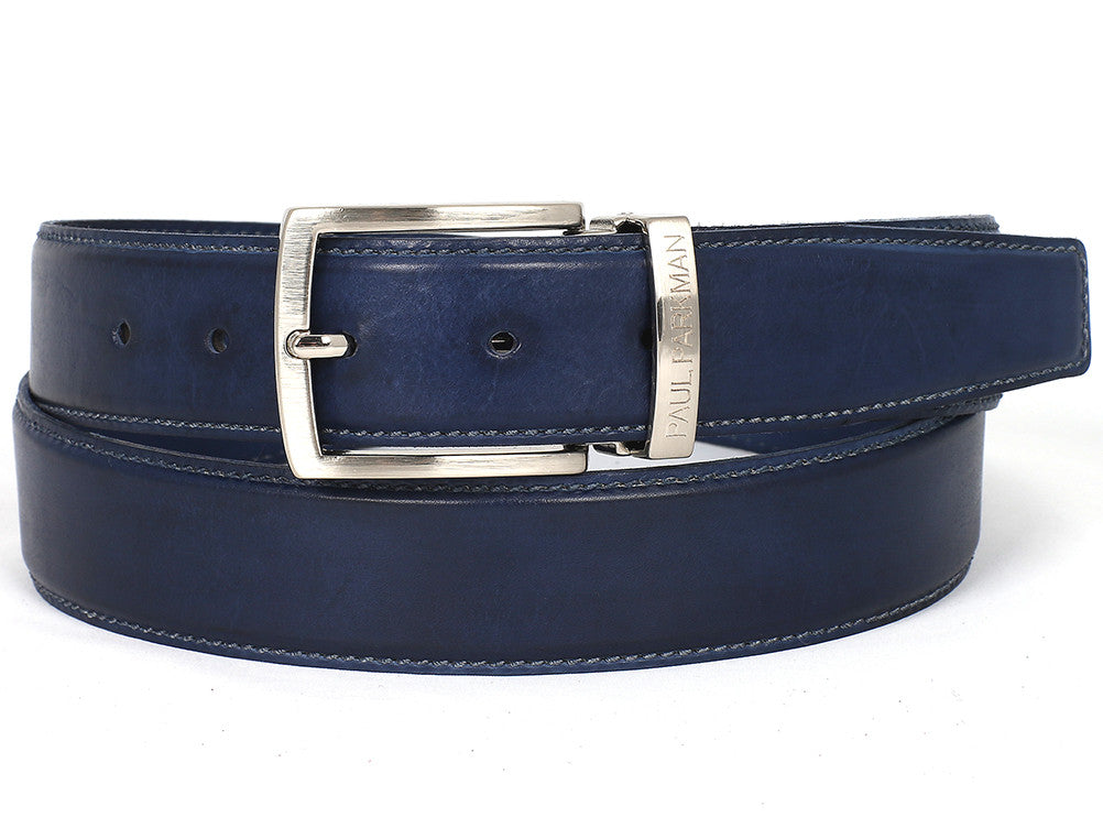 Belt - PAUL PARKMAN Men's Leather Belt Hand-Painted Navy (ID#B01-NVY)