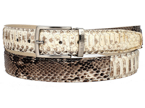 Belt - PAUL PARKMAN Men's Natural Genuine Python (snakeskin) Belt (ID#B03-NAT)