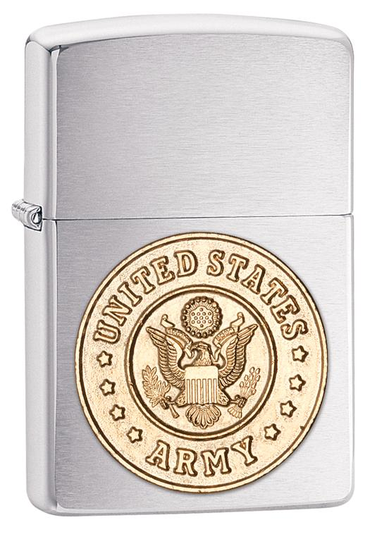 Zippo Army Emblem Brushed Chrome Lighter - TieThis Neckwear and Accessories and TieThis.com