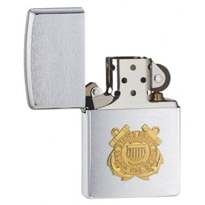 Zippo Coast Guard Emblem Brushed Chrome Lighter - TieThis Neckwear and Accessories and TieThis.com