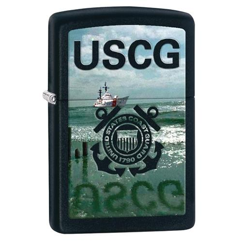Zippo U.S. Coast Guard Black Matte Lighter - TieThis Neckwear and Accessories and TieThis.com
