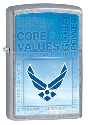Zippo US Air Force Street Chrome Windproof Lighter - TieThis Neckwear and Accessories and TieThis.com