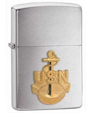 Zippo US Navy Anchor Emblem Brushed Chrome Lighter - TieThis Neckwear and Accessories and TieThis.com